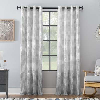 Seersucker Stripe Cotton Blend Grommet Top Curtain - Archaeo