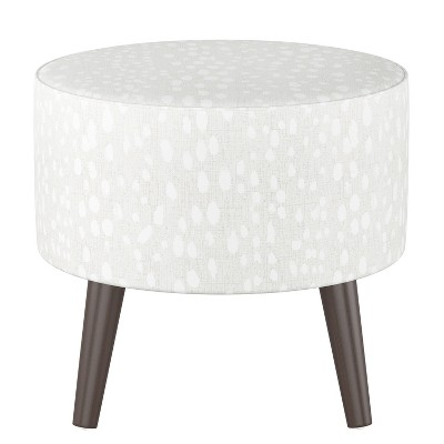 riverplace round cone leg ottoman ivory leopard print with espresso legs project 62