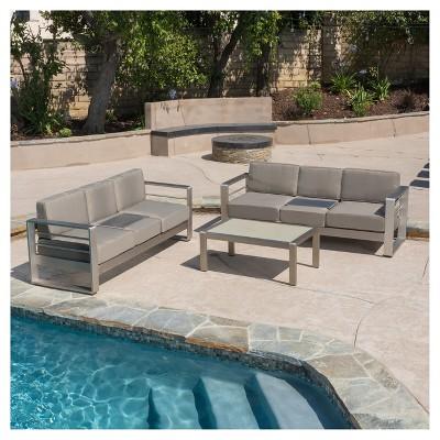 cape coral 3pc metal patio sofa set w cushions khaki christopher knight home