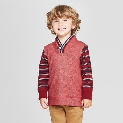 Genuine Kids® from OshKosh Toddler Boys' Shawl Pullover Sweater - Cranberry