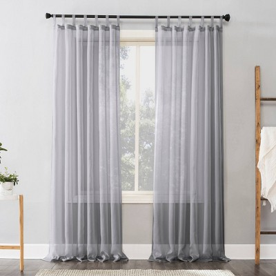 63 x59 emily sheer voile tab top curtain panel silver no 918