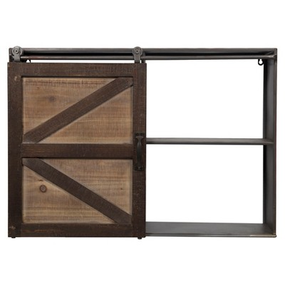 "Gallery Solutions 27.8""x20.1"" Farmhouse Sliding Barn Door Storage Cabinet Shelf Brown"