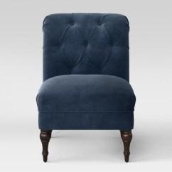 Grey Velvet Slipper Chair Raz Shower With Tilt Wales Rollback Tufted Turned Leg Navy Fully Threshold