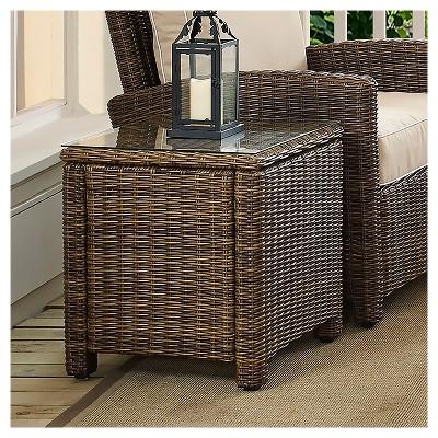 bradenton outdoor wicker rectangular side table crosley