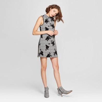 Women's Floral Print Sleeveless Turtleneck Flocked Dress - Lots of Love by Speechless (Juniors') Black/White