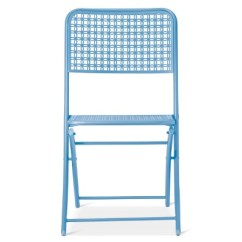 Blue Metal Folding Chairs Baby Chair Carrier Punch Patio Bistro Threshold Room Essentials