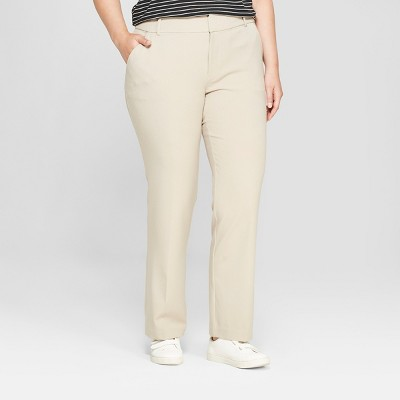 Women's Plus Size Trouser Pants with Comfort Waistband - Ava & Viv™