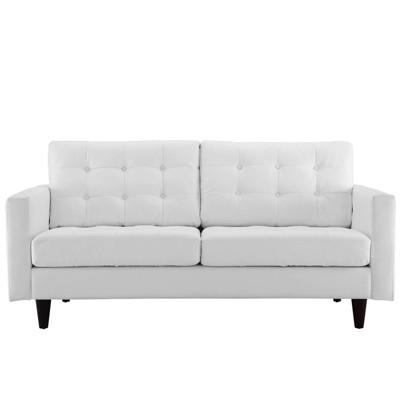 Empress Bonded Leather Loveseat White - Modway