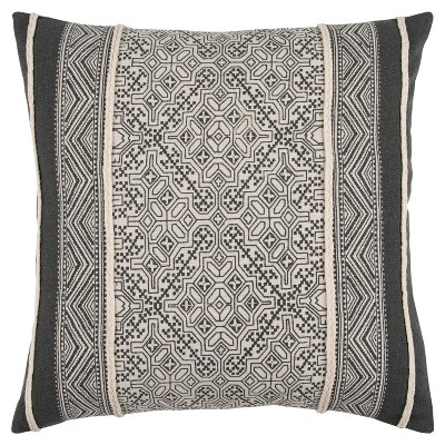 Grey And Natural Tribal Throw Pillow - Rizzy Home