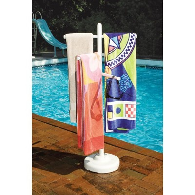 Swimline Hydrotools 89032 Indoor Outdoor Swimming Pool Spa Weighted Poolside Towel Rack