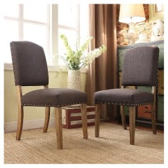 Accent Dining Chairs Desk Chair Habitat Cobble Hill Nailhead Wood Charcoal Set Of 2 More