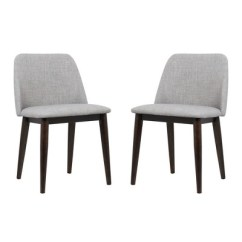 Light Wood Dining Chairs Mid Back Chair Horizon Contemporary Set Of 2 In Gray Fabric With Brown Legs Armen Living