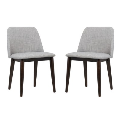 dining chairs fabric chair legs caps horizon contemporary set of 2 in light gray with brown wood armen living