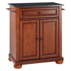 Crosley Kitchen Island Small Corner Hutch Alexandria Solid Black Granite Top Portable Wood Classic Cherry Finish