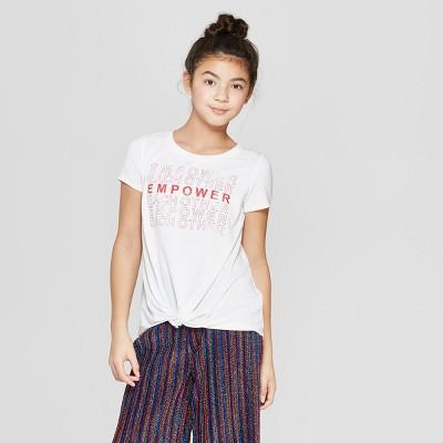Girls' Short Sleeve Twist Front T-Shirt - art class™ White