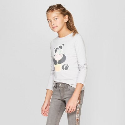 Girls' Long Sleeve Panda Graphic T-Shirt - Cat & Jack™ Gray