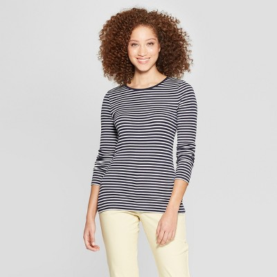 Women's Striped Long Sleeve Fitted Crew T-Shirt - A New Day™