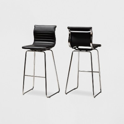 Set of 2 Giorgio Faux Leather Upholstered Chrome Finished Steel Bar Stools Black - BaxtonStudio