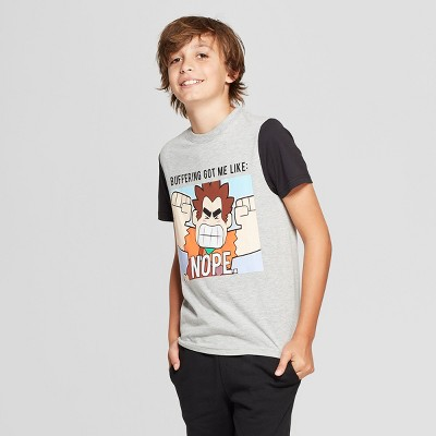 Boys' Wreck-It Ralph Short Sleeve Graphic T-Shirt - Gray/Black