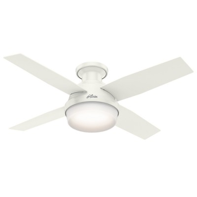 """44"""" Dempsey Low Profile with Light Fresh White Ceiling Fan with Light with Handheld Remote - Hunter Fan"""