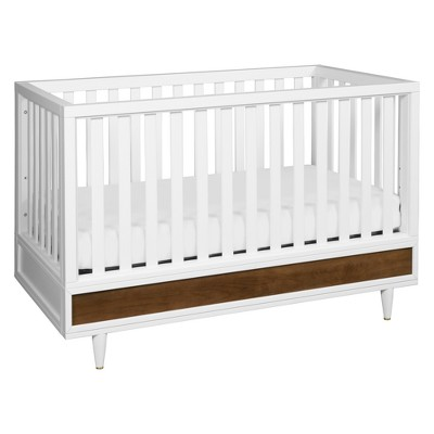 Babyletto Eero 4-in-1 Convertible Crib with Toddler Bed Conversion Kit - White & Natural Walnut