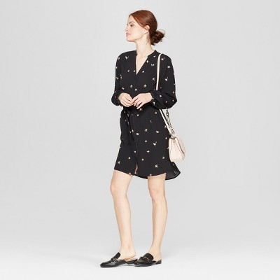 Women's Floral Print Long Sleeve Crepe Shirtdress - A New Day™ Black