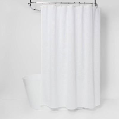 woven shower curtain white threshold