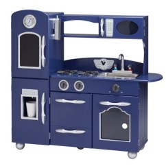 Retro Kids Kitchen How To Paint Cabinets White Without Sanding Teamson Wooden Play Navy Blue Target