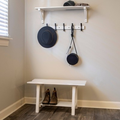 theresa entryway bench with shelf and coat rack set white decor therapy