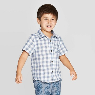Toddler Boys' Dobby Plaid Short Sleeve Woven Button-Down Shirt - Cat & Jack™ Blue/White