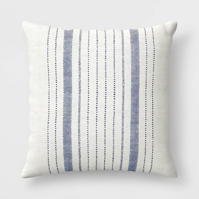 oversize woven outdoor throw pillow navy white threshold designed with studio mcgee