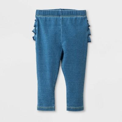 Baby Girls' Ruffle Bum Faux Denim Jeans - Cat & Jack™ Medium Wash