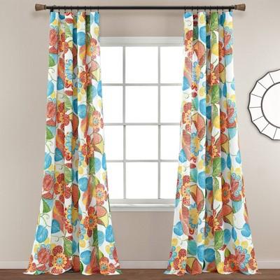 set of 2 84 x52 layla light filtering window curtain panels orange blue lush decor