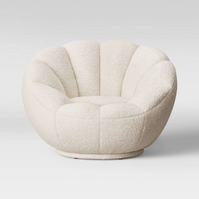 Low Profile Swivel Tulip Chair White Sherpa Room Essentials Target