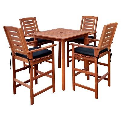 miramar 5pc square wood patio bar height dining set cinnamon brown black corliving