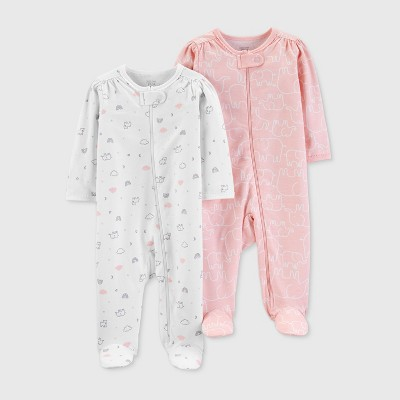 Baby Girls' 2pk Footed Sleepers - Just One You® made by carter's Pink/White