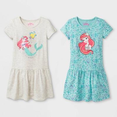 Toddler Girls' 2pk Disney Princess Ariel T-Shirt Dresses - White/Turquoise