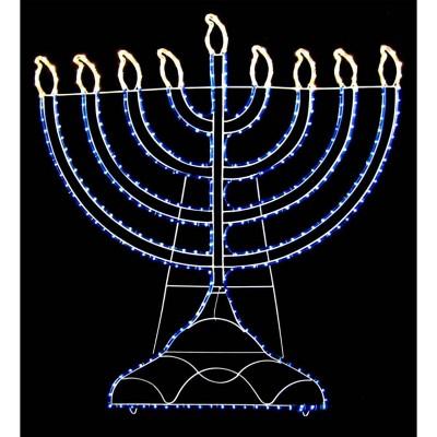 "Vickerman 20"" White & Blue LED Lighted Rope Light Hanukkah Menorah Outdoor Decoration"