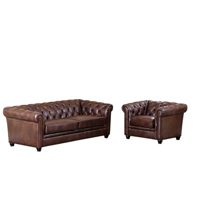 2pc Keswick Tufted Leather Sofa & Armchair Set - Abbyson Living