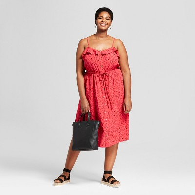Women's Plus Size Button Front Ruffle Dress - Universal Thread™ Red