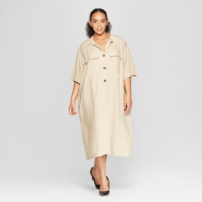 Women's Plus Size Short Sleeve Duo Front Pocket Button Detail Utility Dress - Who What Wear™