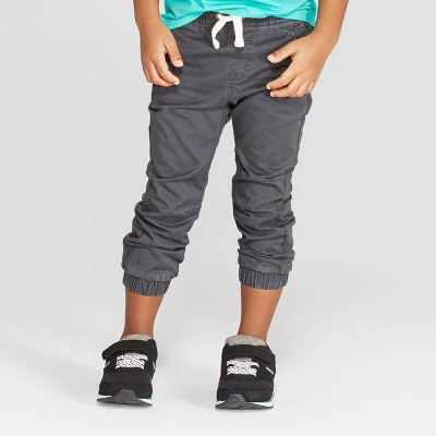 Toddler Boys' Stretch Twill Front Jogger Pants - Cat & Jack™ Charcoal