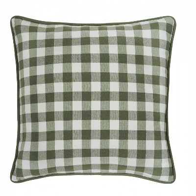 kate aurora 2 pack country farmhouse buffalo plaid zippered pillow covers 18 in w x 18 in l sage