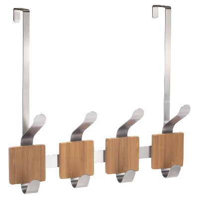"InterDesign Formbu 8-Hook Over-the-Door Bamboo Storage Rack - Brushed Stainless (13"")"