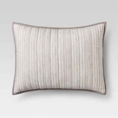 gray stitched stripe pillow