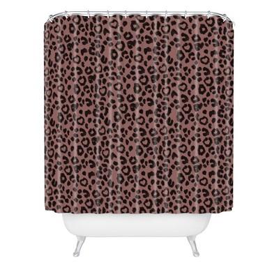 leopard love shower curtain black deny designs