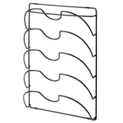 mdesign metal pot pan lid storage rack mount on cabinet door wall black