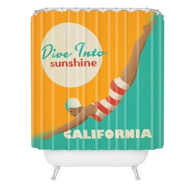 Dive California Shower Curtain Orange/Teal - Deny Designs