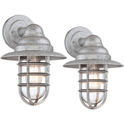john timberland rustic industrial outdoor wall light fixtures set of 2 galvanized 13 1 4 clear glass hooded cage exterior house