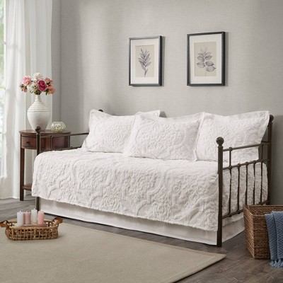 eugenia daybed 5pc tufted cotton chenille daybed cover set white